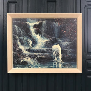 Mid Century 'Blue Waterfall' Framed Print