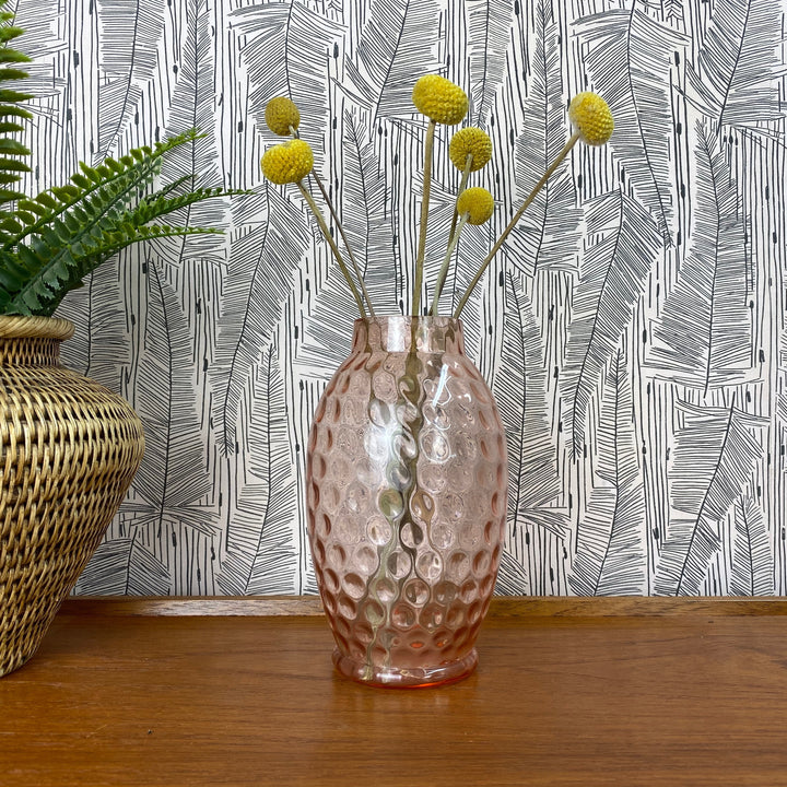 Vintage Pink Glass Bubble Vase