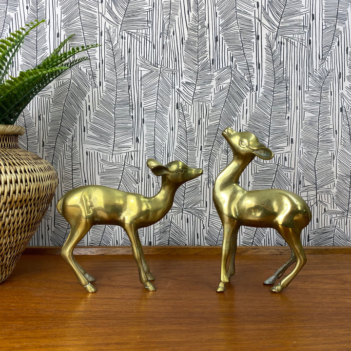 Vintage Brass Pair of Fawns/Deer