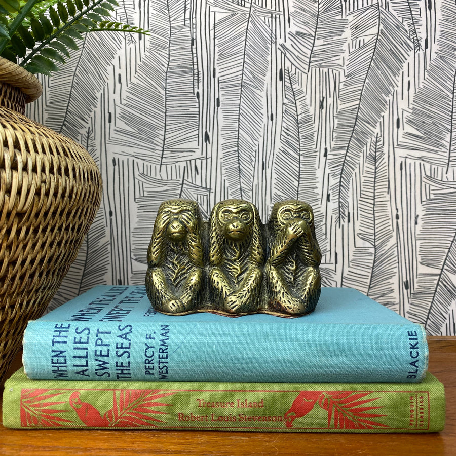 Vintage Brass Three Wise Monkeys Ornament - A1a