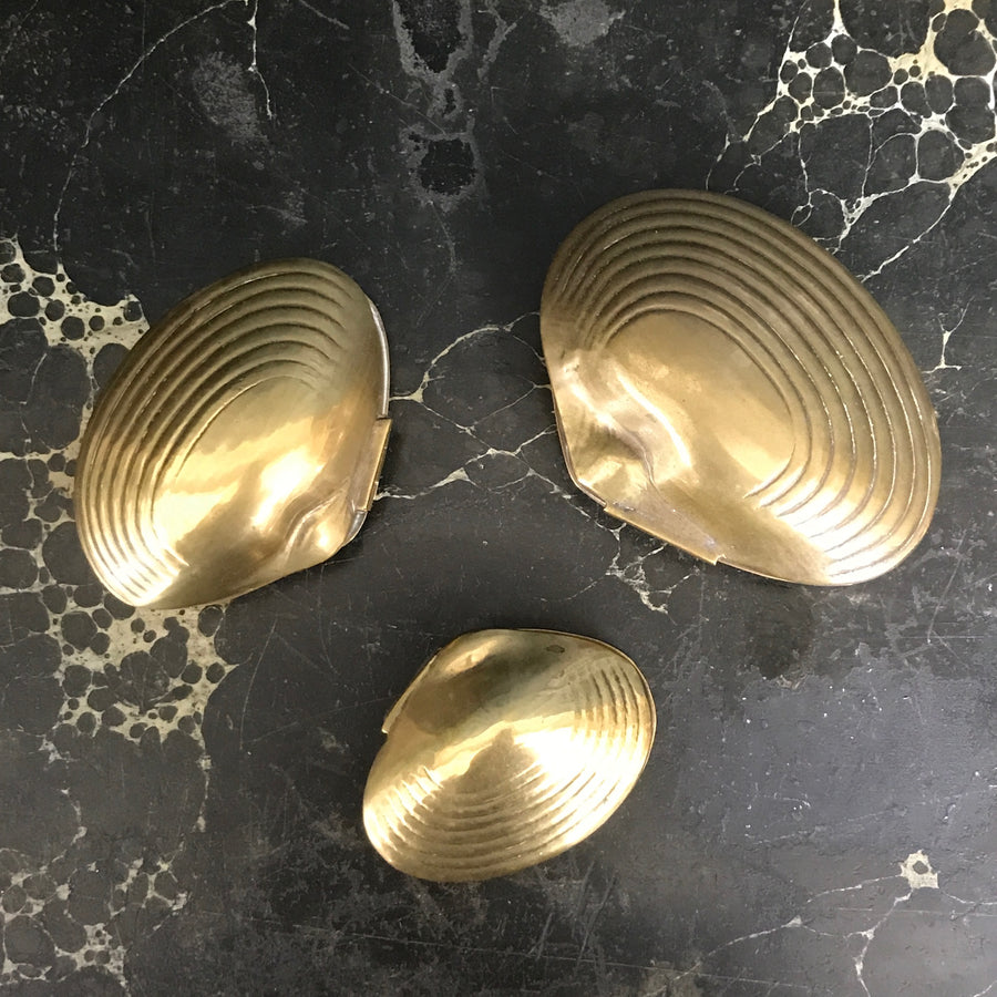 Vintage Brass Clam Shell Trinket Boxes