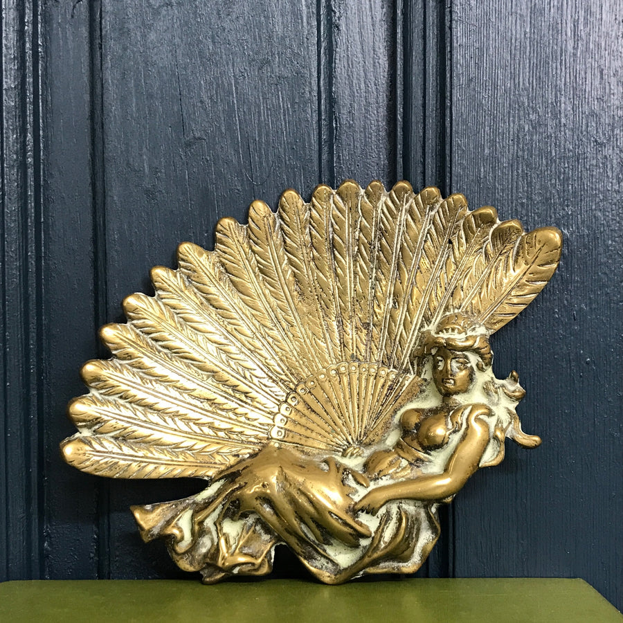 Vintage Brass 'Lady & Fan' Soap Dish