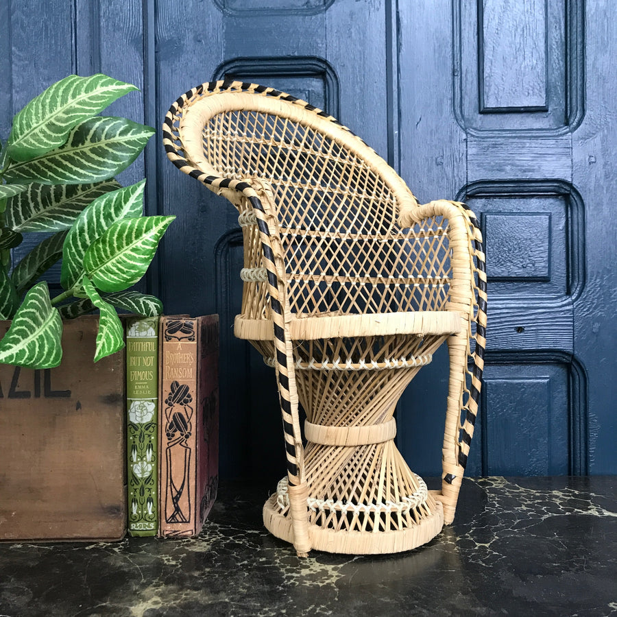 Vintage Miniature Boho Peacock Chair Planter #2