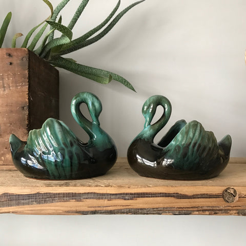 Vintage Ceramic Pair of Swan ornaments or planters