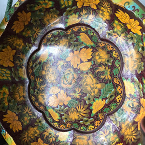 Vintage Orange Floral Decorative Tin Bowl