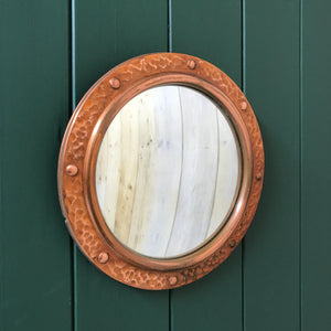 Vintage Hammered Copper Convex Porthole Mirror