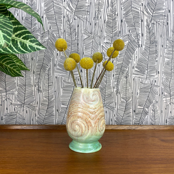 Art Deco Pink/Green Vase - Swirl