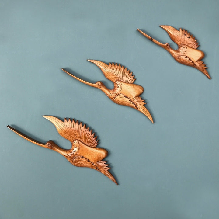 Trio of Teak Mid Century Flying Cranes