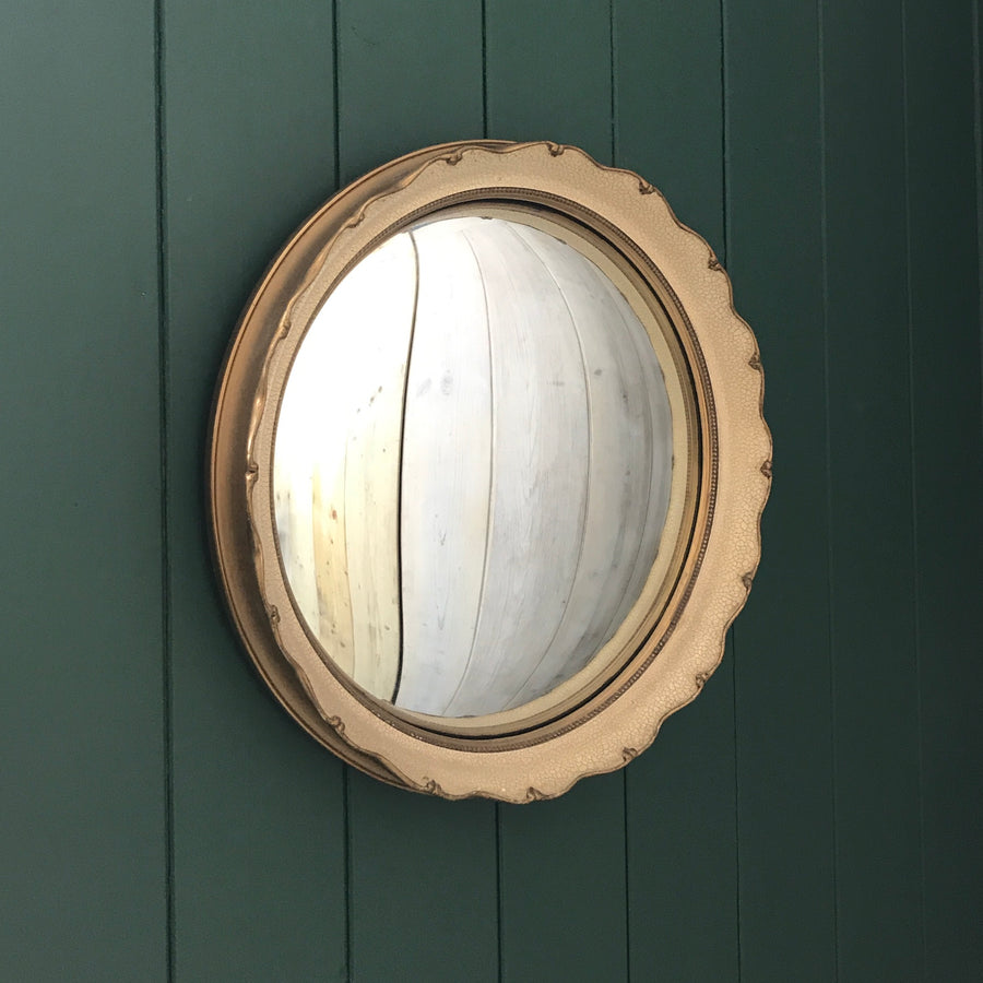 Vintage Cream / Gold 1920's Convex Mirror
