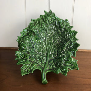 Large Vintage Cabbage Leaf Fruit Bowl