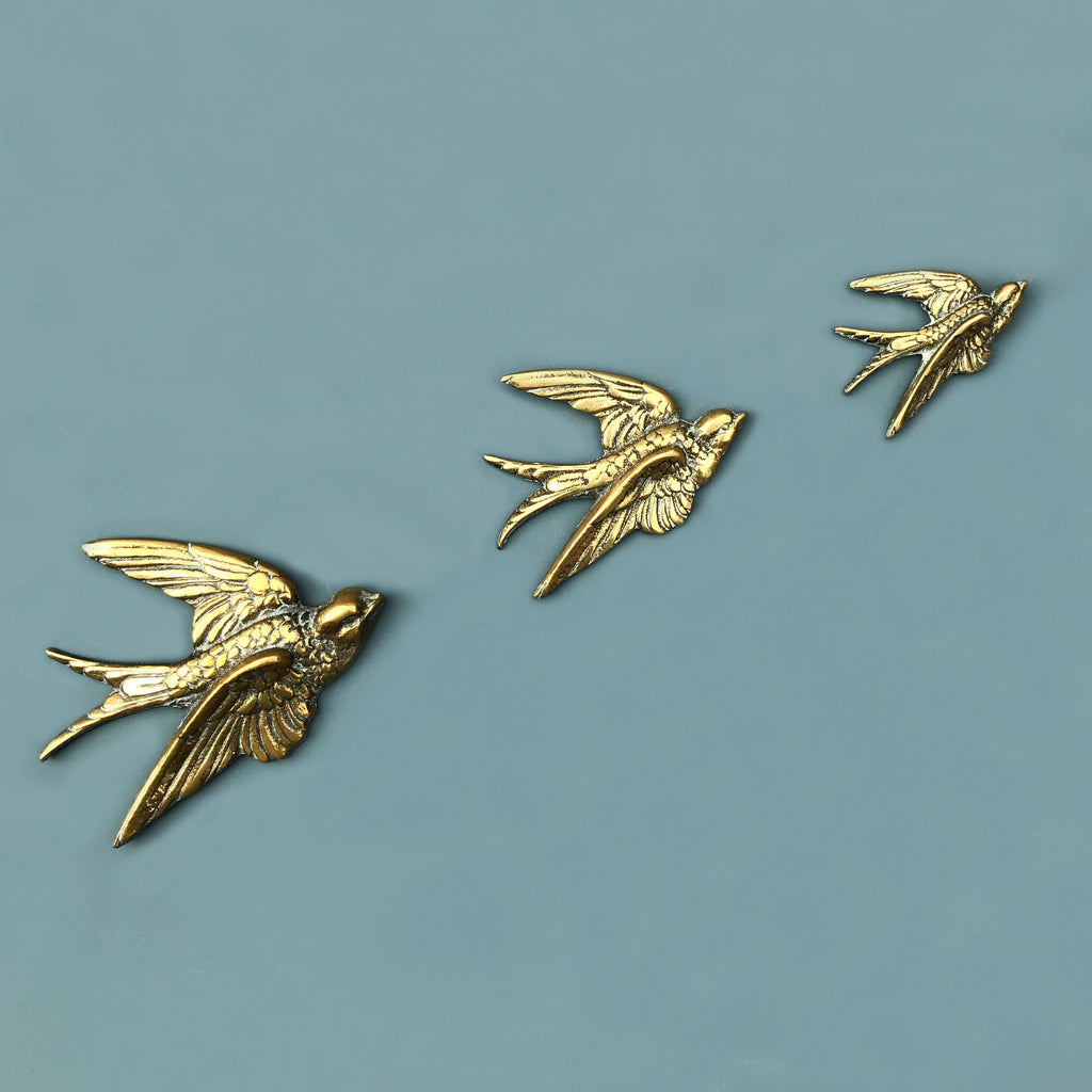 Trio of Brass Mid Century Flying Swallows