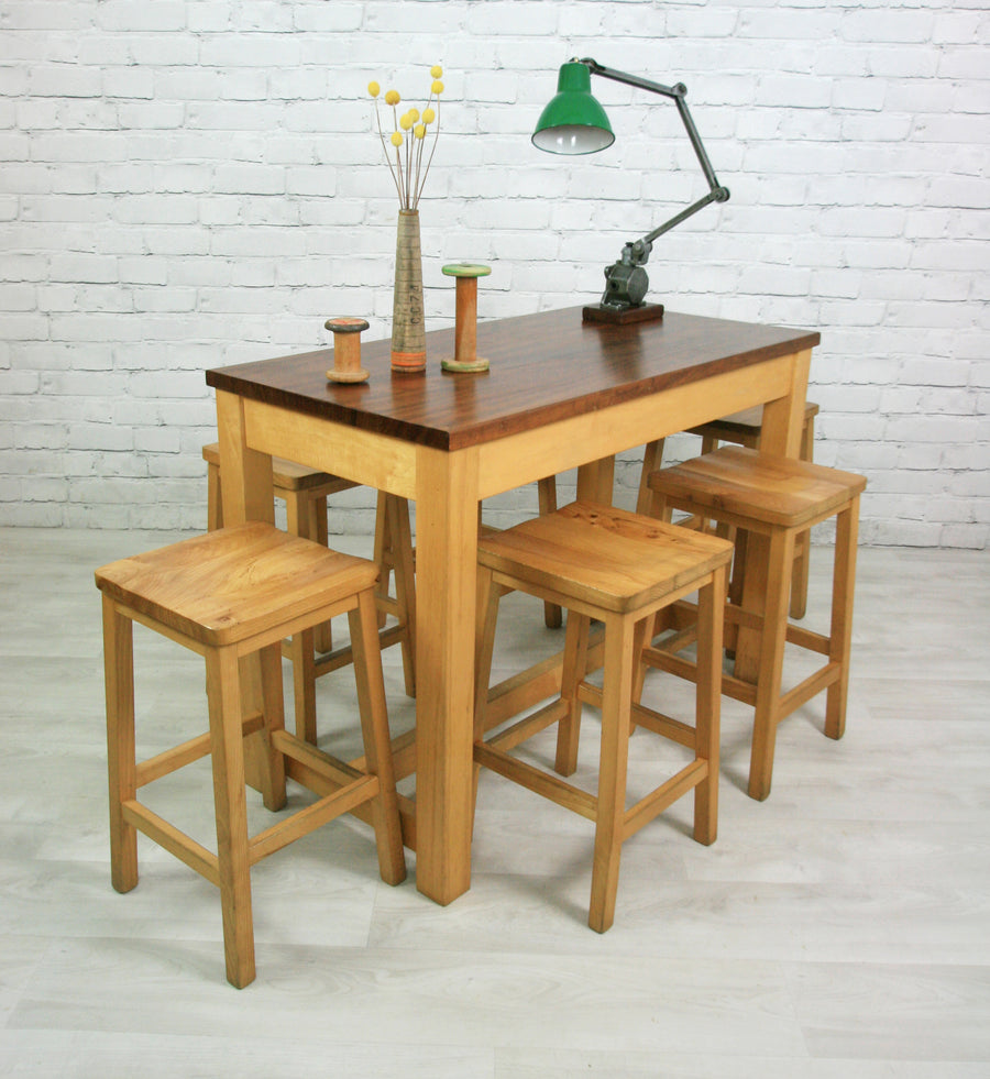 Vintage School laboratory table & 6 stools