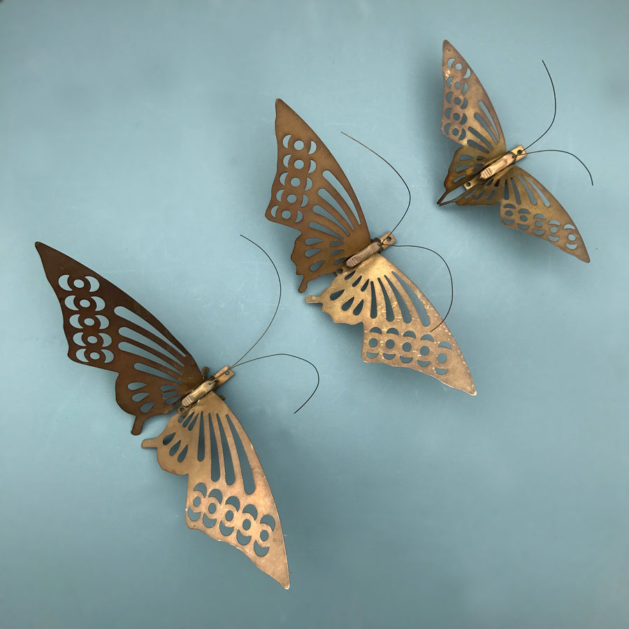 Trio of Brass Mid Century Butterflies - Wall Art