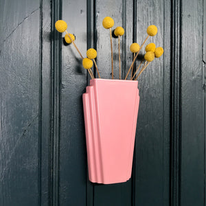 Pastel Pink Art Deco Ceramic Wall Vase