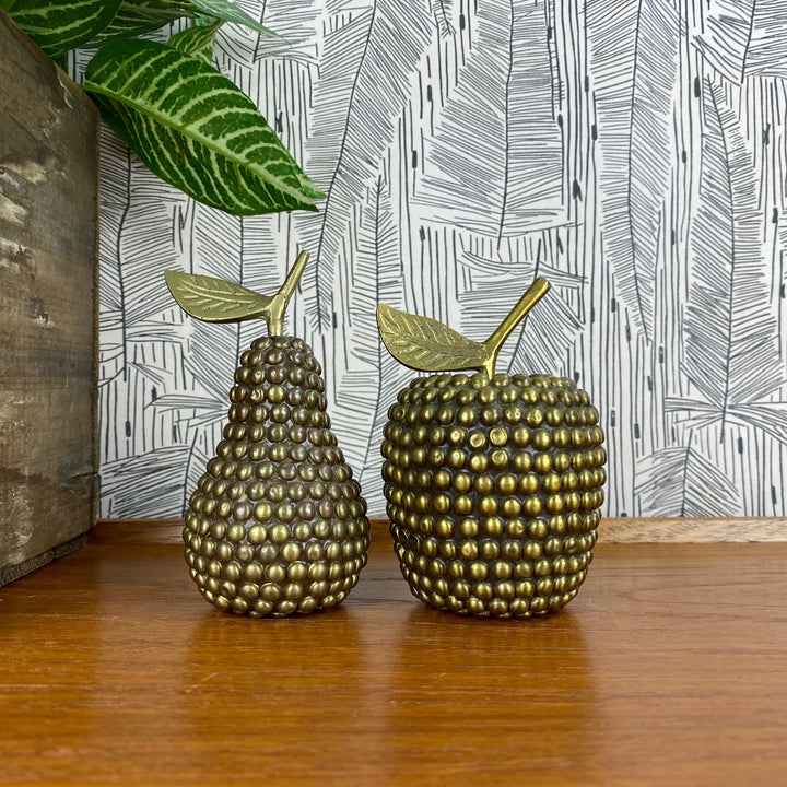 Vintage Studded Brass Apple & Pear - A1a