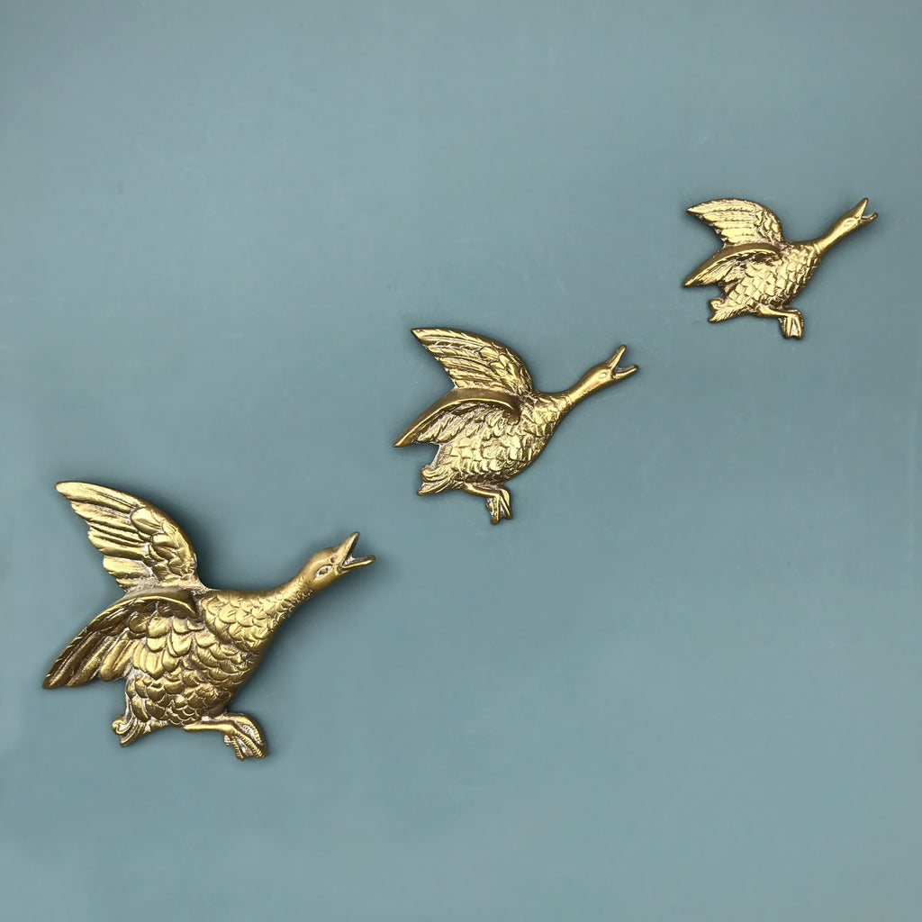 Trio of Brass Mid Century Flying Ducks