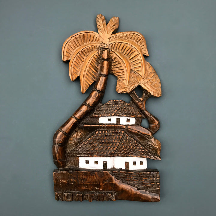 Vintage 'Tiki & Palms' Wall Plaque #1