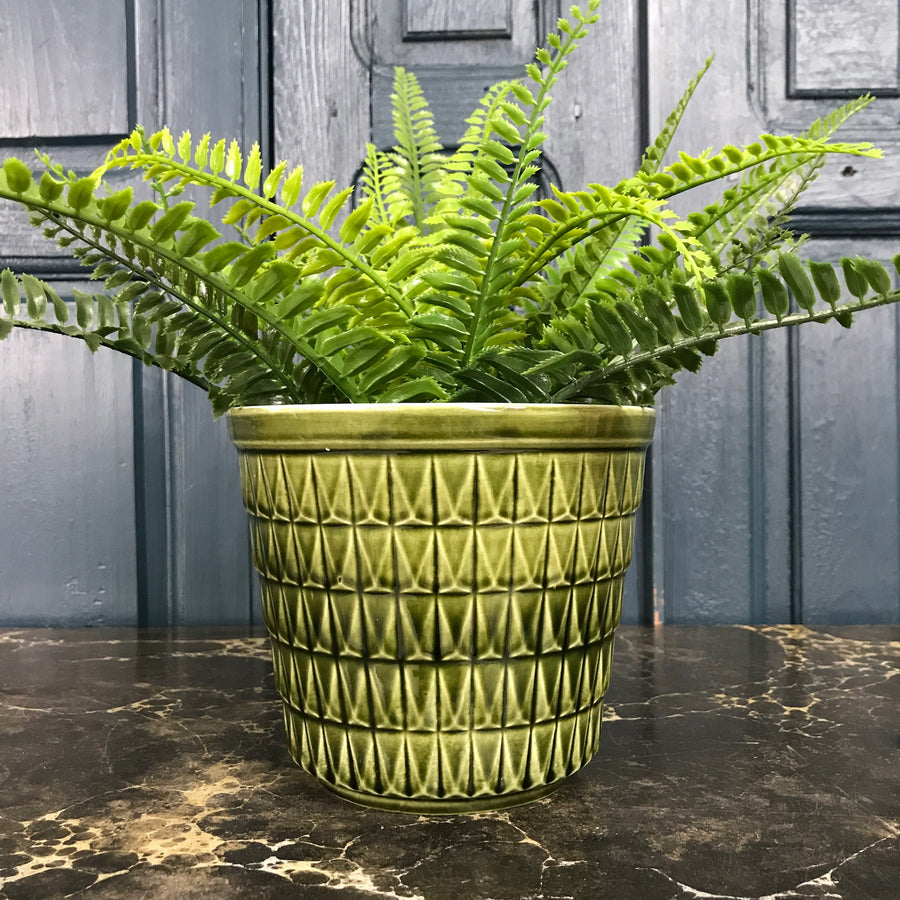 Vintage Green Patterned Plant Pot