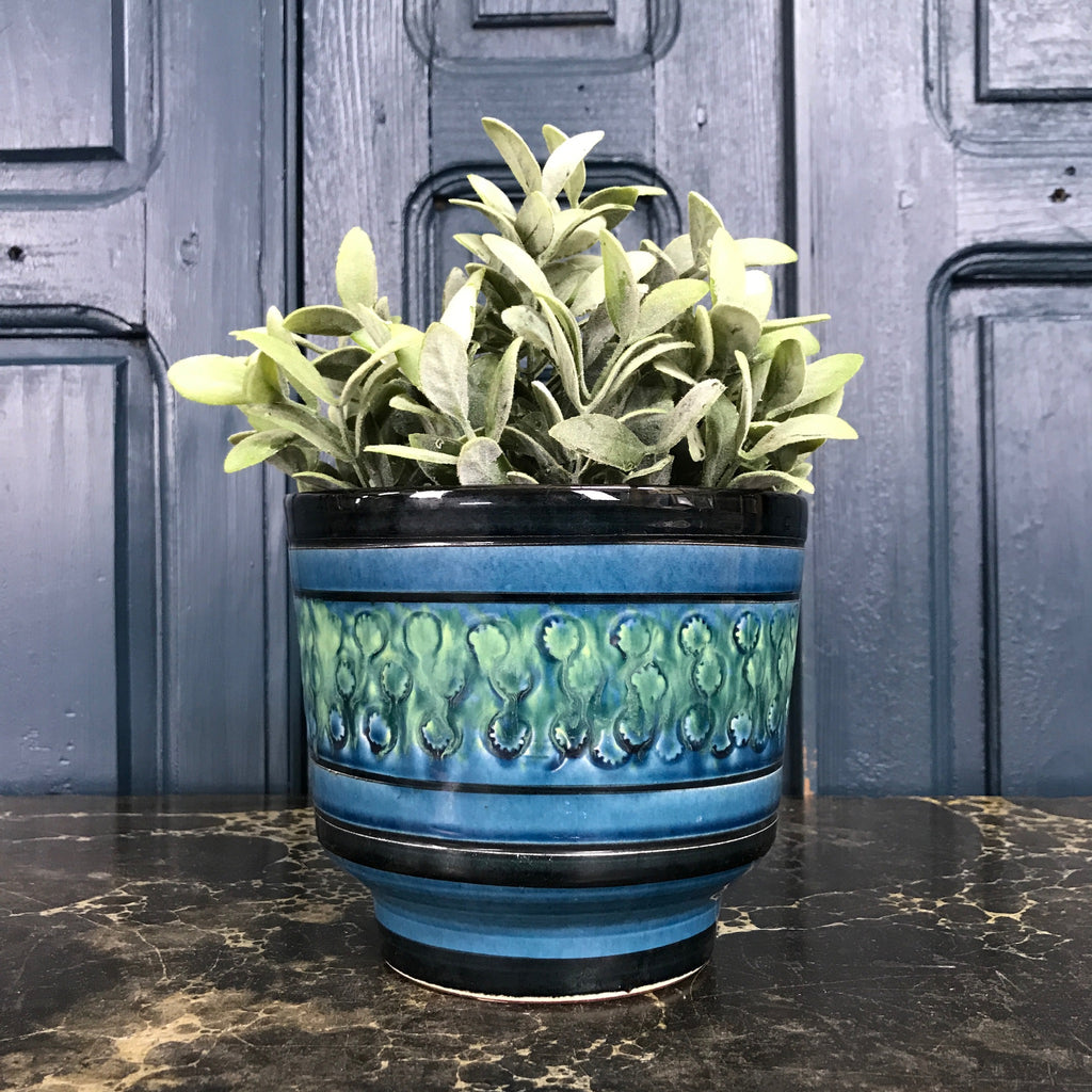 Vintage Green & Blue Plant Pot