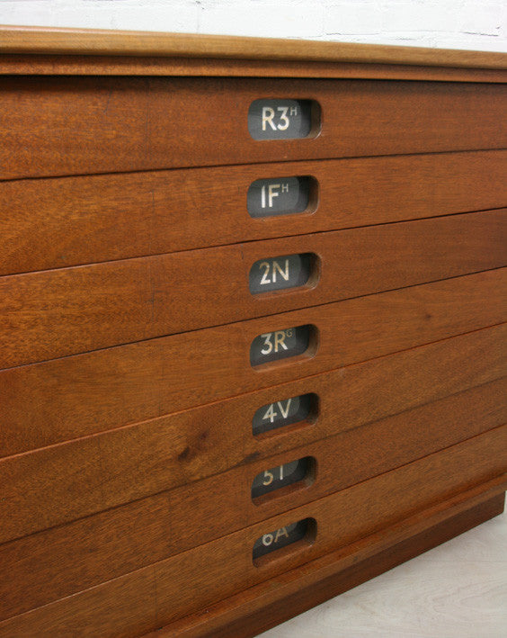 Vintage industrial reclaimed Iroko school plan chest (large) - Restored to order