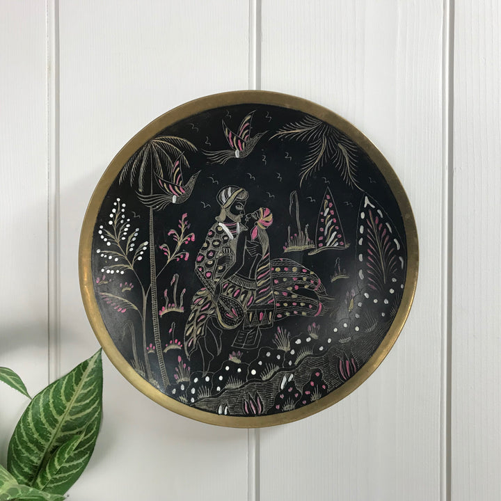 Vintage Brass Plate/Wall Plaque - Dark/Etched Scene