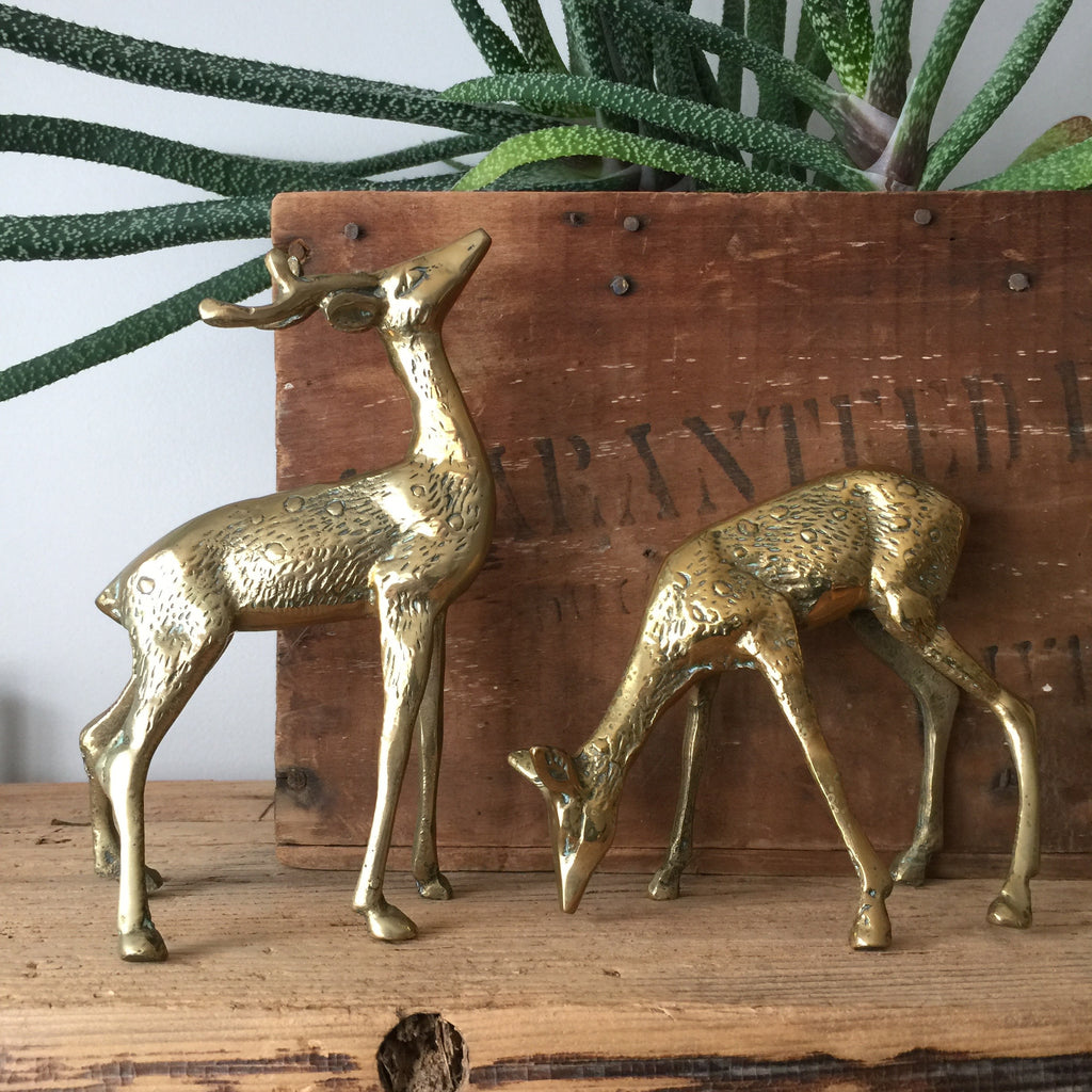 Vintage Brass Pair of Deer
