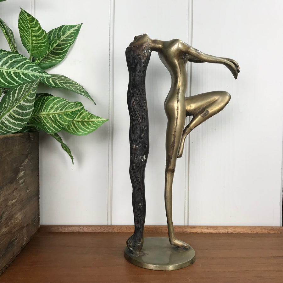 Mid Century Brass Lady Sculpture