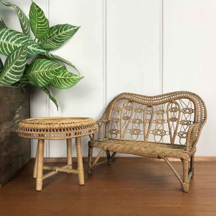 Vintage Boho Rattan Sofa & Coffee Table (doll's size)