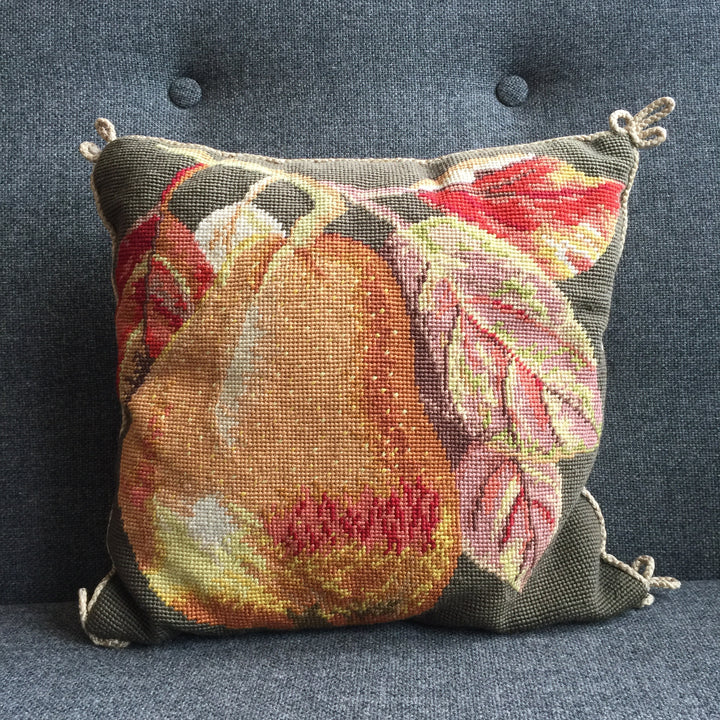 Vintage Embroidered Pear Cushion