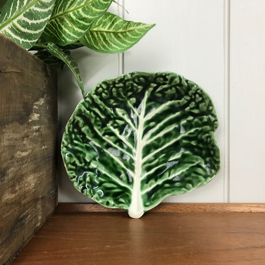 Mid Century Cabbage Leaf Dish #A1