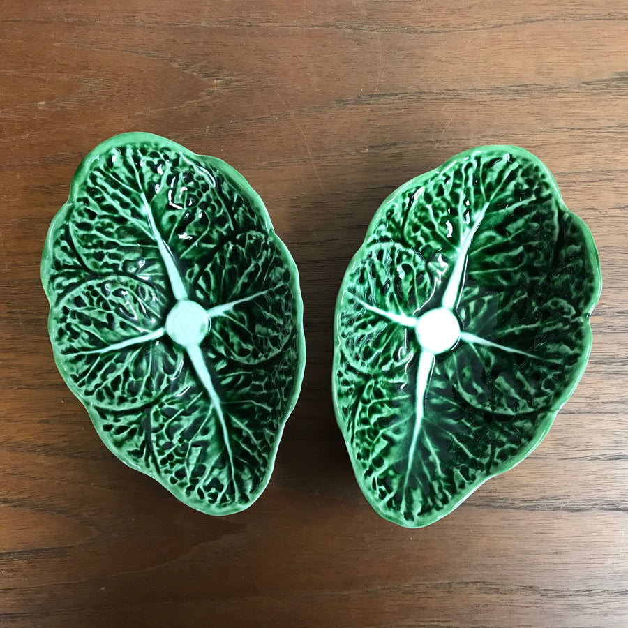 Pair of Small Mid Century Cabbage Leaf Dishes #A1