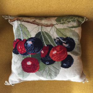 Vintage Embroidered Cherry Cushion