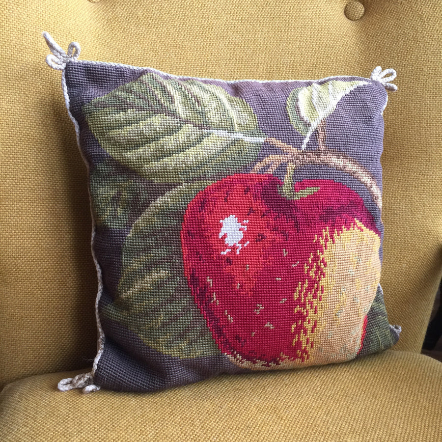 Vintage Embroidered Apple Cushion