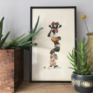 Framed Vintage African Lady Butterfly Collage #1