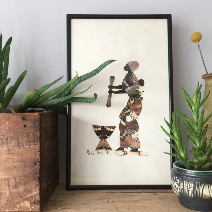 Framed Vintage African Lady Butterfly Collage #2