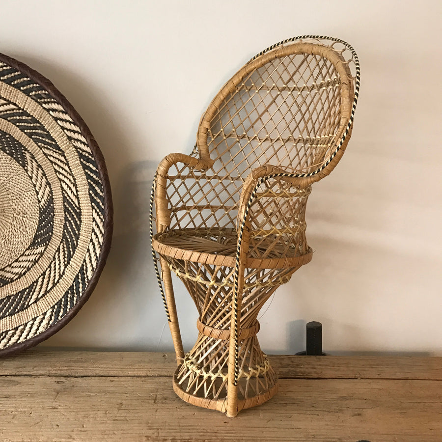 Vintage Miniature Boho Peacock Chair or Planter