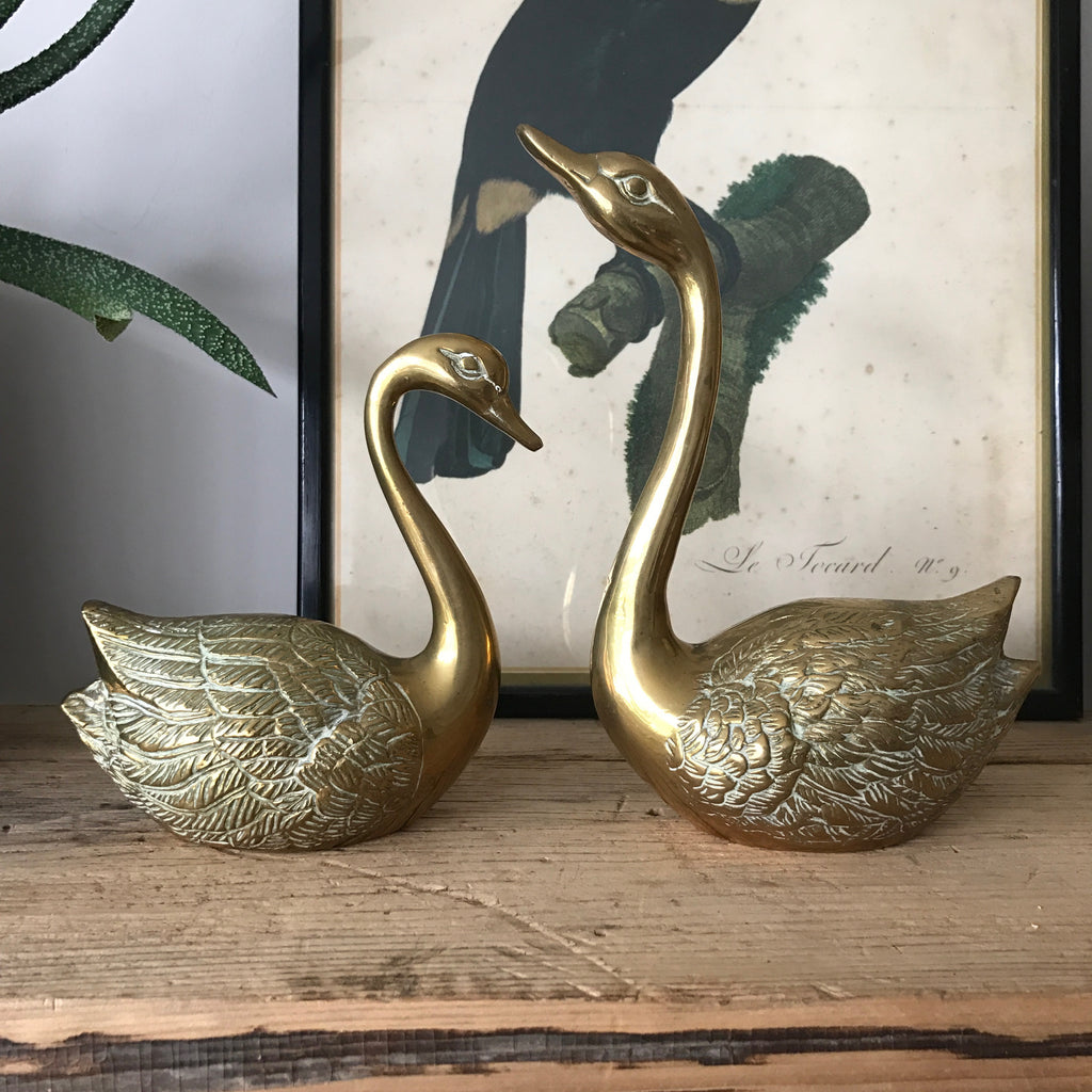 Vintage Brass Pair of Swans