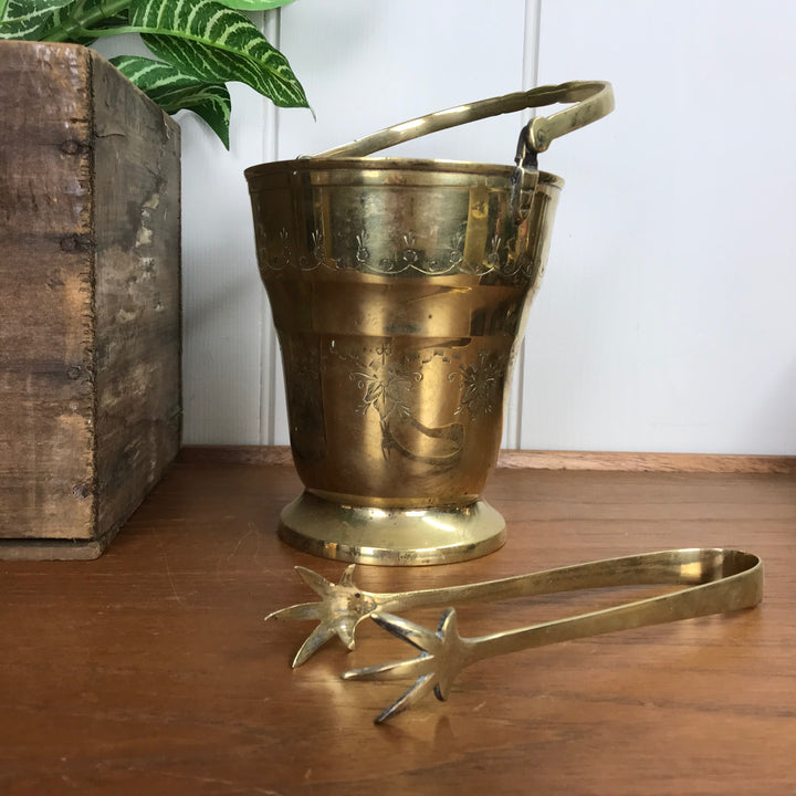Vintage Brass Ice Bucket Set with Tongs #A2