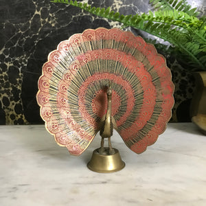 Mid Century Brass Peacock Ornament (Medium)