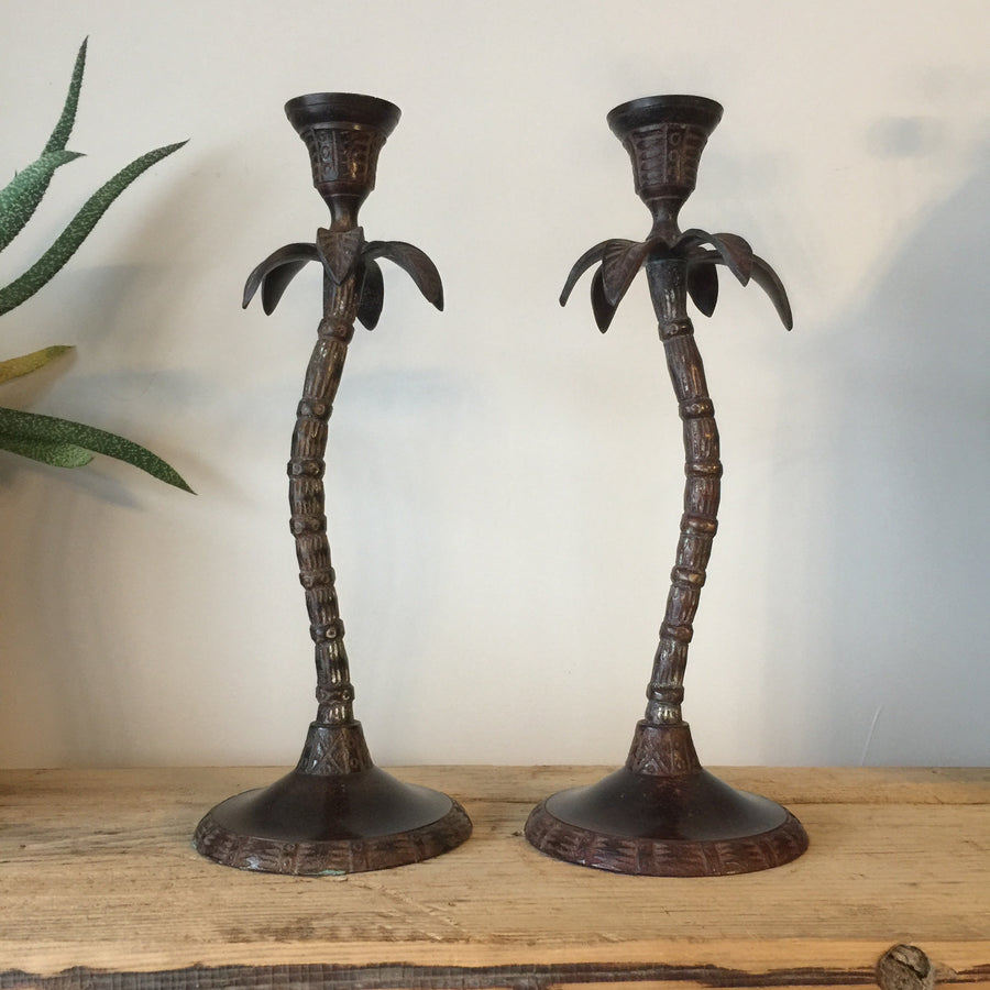 Pair of Mid Century Palm Tree Candlesticks