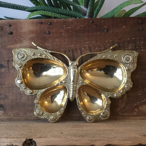 Large Vintage Brass Butterfly Trinket Dish