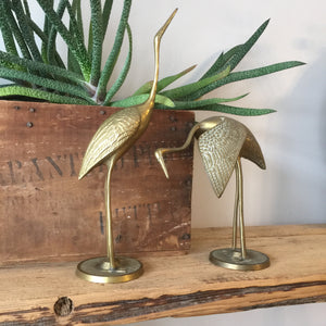 Vintage Brass Pair of Cranes