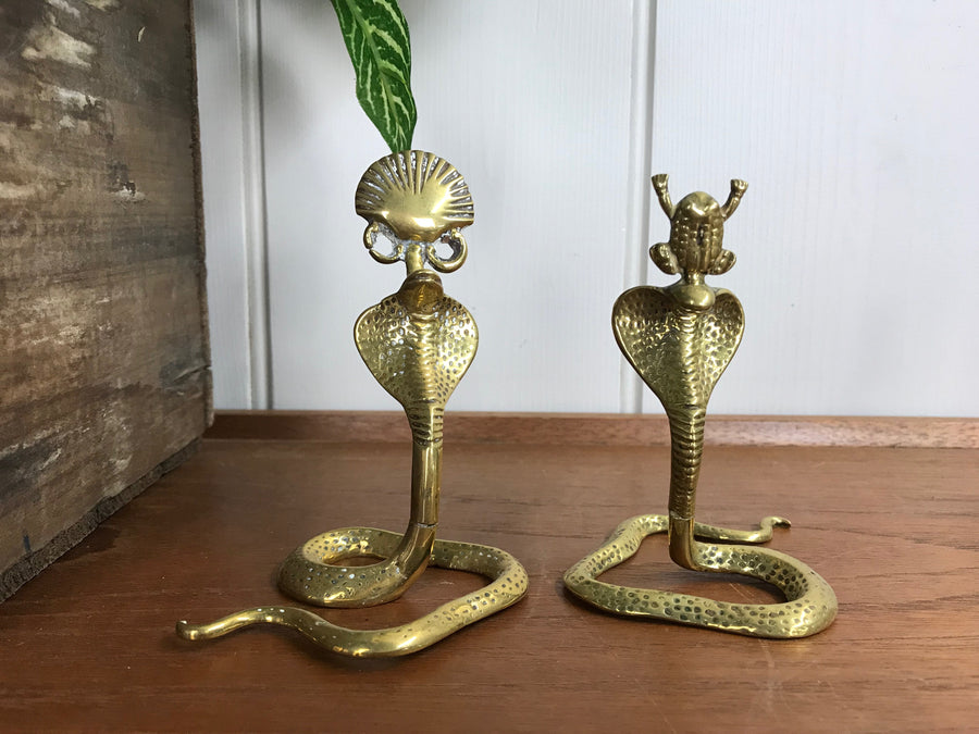 Mid Century Brass Cobra Place Setting Card Holders