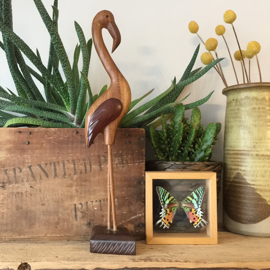 Mid Century Wooden Carved Flamingo