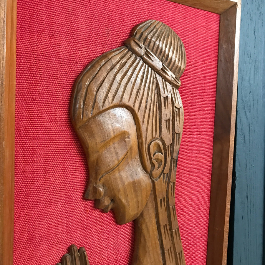 Mid Century 'Praying Lady' Teak Picture