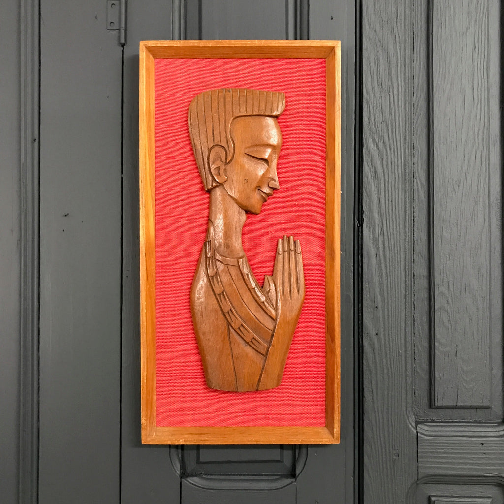 Mid Century 'Praying Man' Teak Picture
