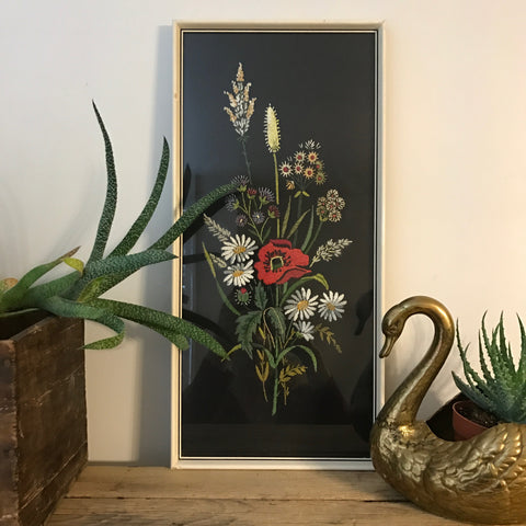 Vintage Framed Embroidery - 'Poppy'