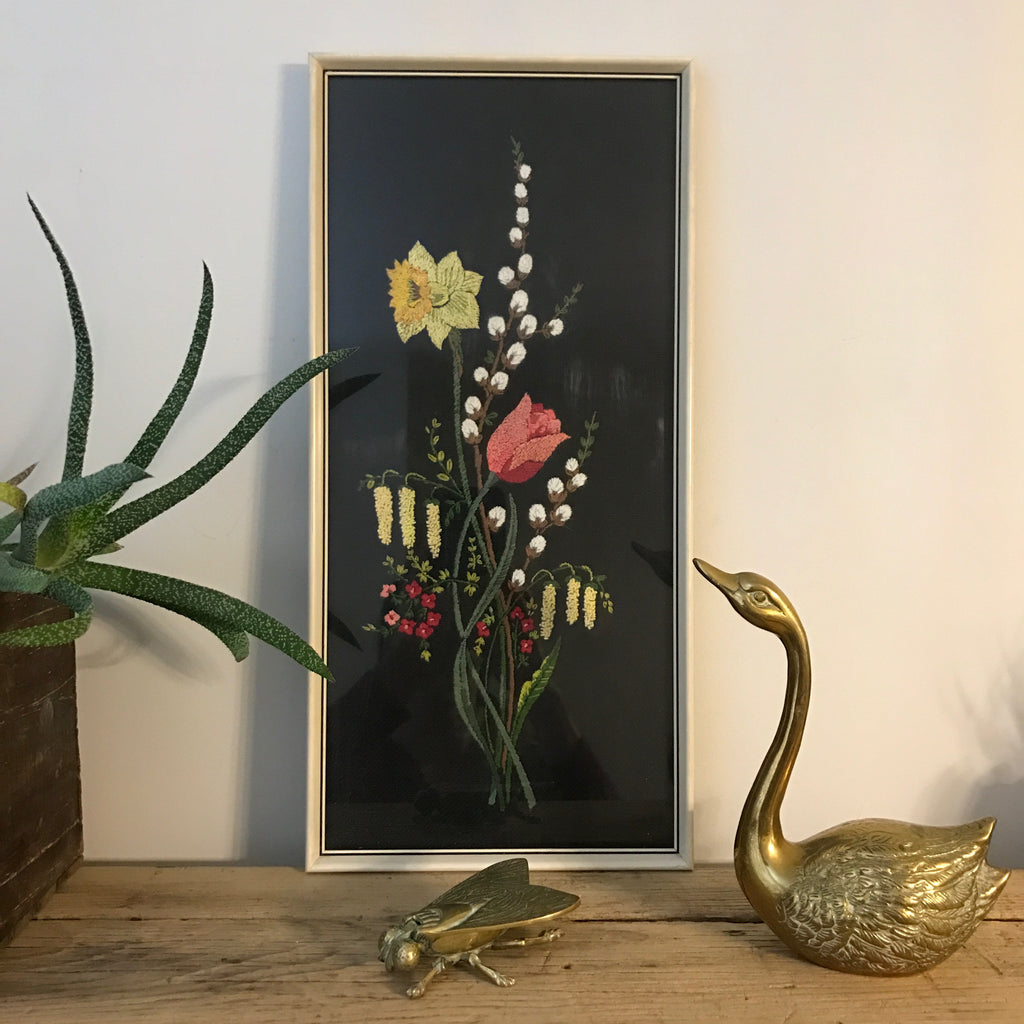 Vintage Framed Embroidery - 'Tulip'