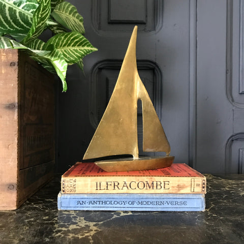 Mid Century Brass Sailing Boat #A1