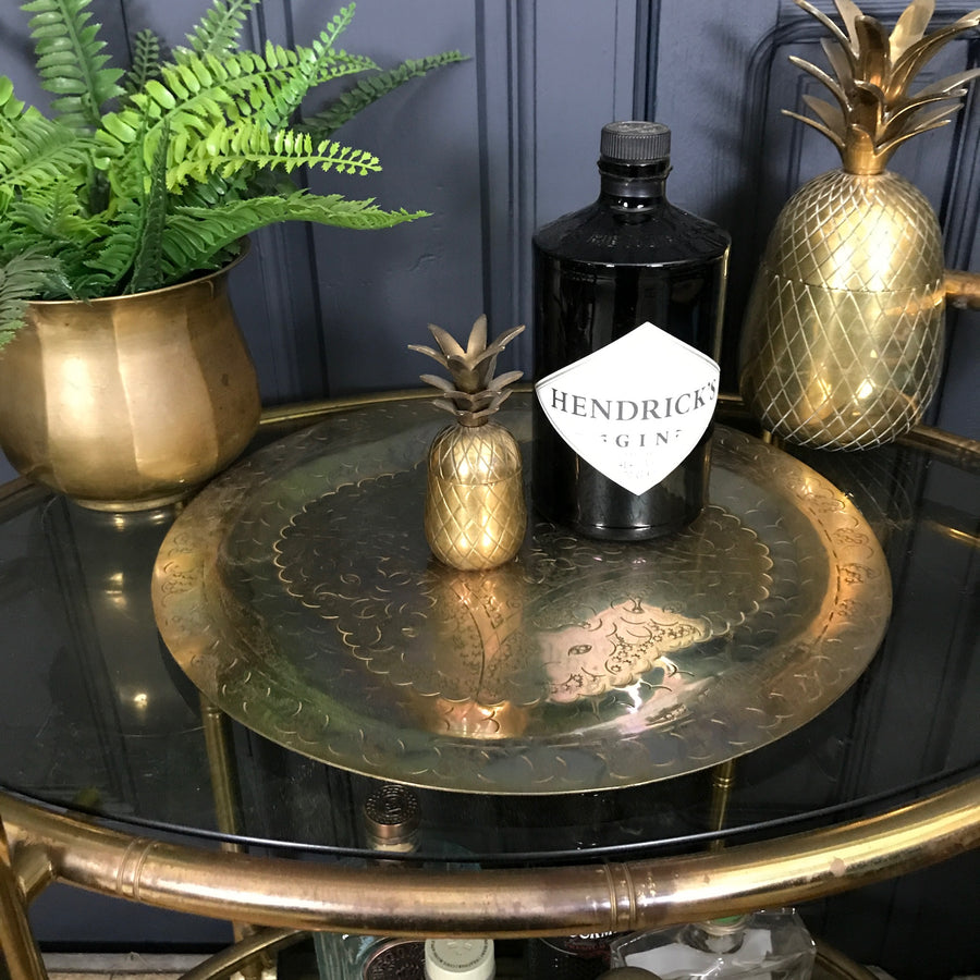 Vintage Brass Engraved Serving Tray